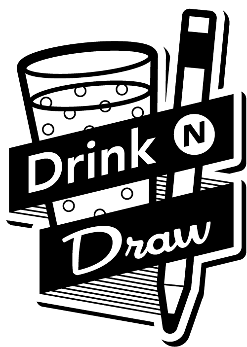 drink n draw logo design nyc