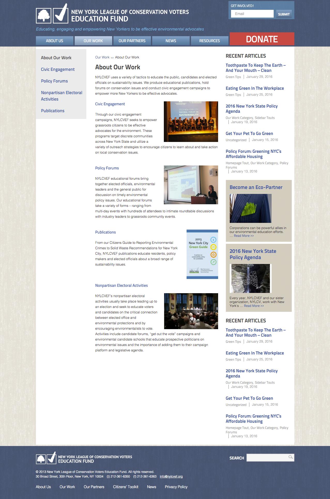 conservation website design nyc