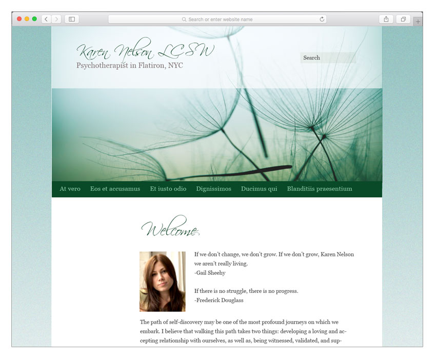 women psychotherapist web design nyc