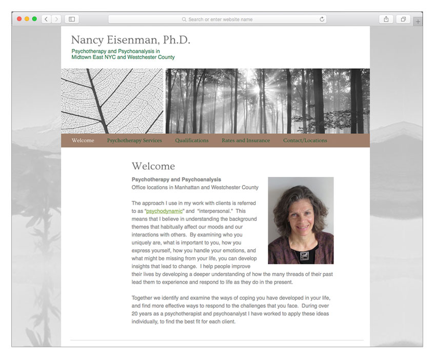 psychotherapist web design nyc